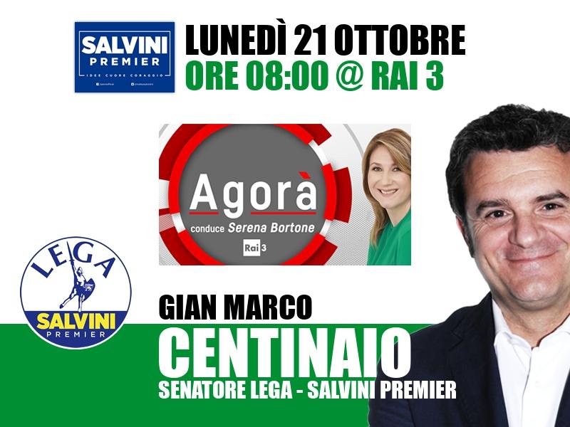 Gian Marco Centinaio a Agorà (Rai 3)