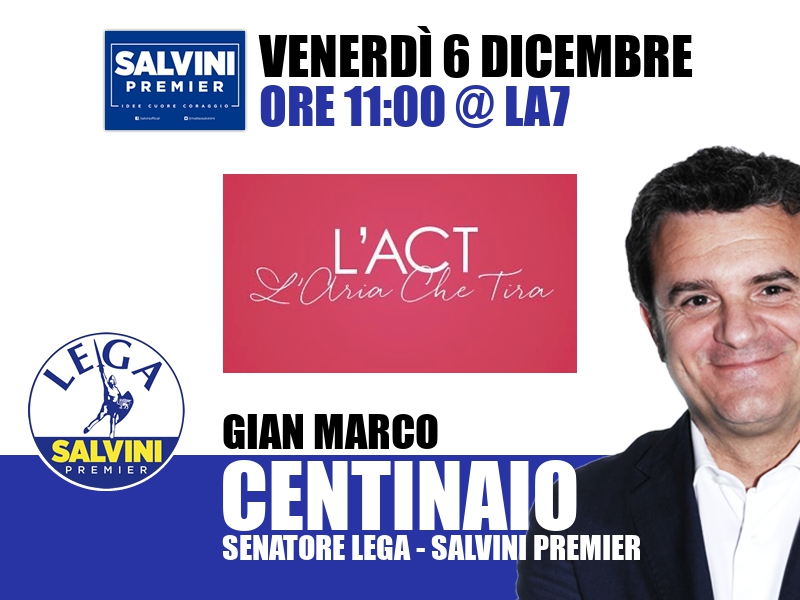 Gian Marco Centinaio a L'Aria che Tira (La7)