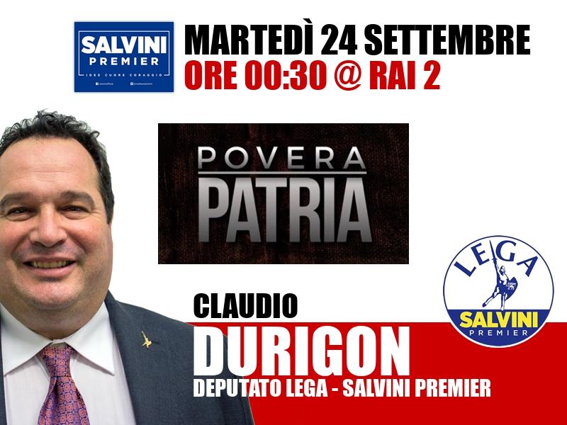 Claudio Durigon a Povera Patria (Rai 2)