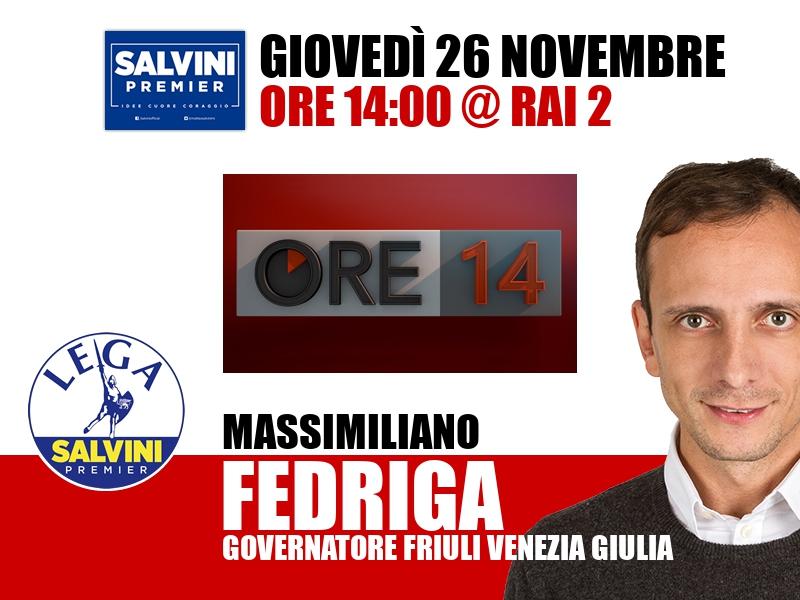 Massimiliano Fedriga a Ore 14 (Rai 2)