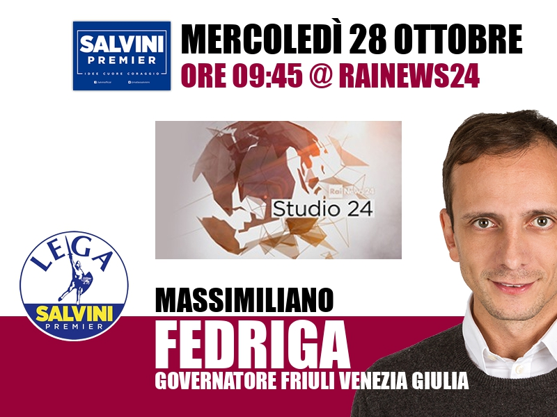 Massimiliano Fedriga a Studio24 (RaiNews24)