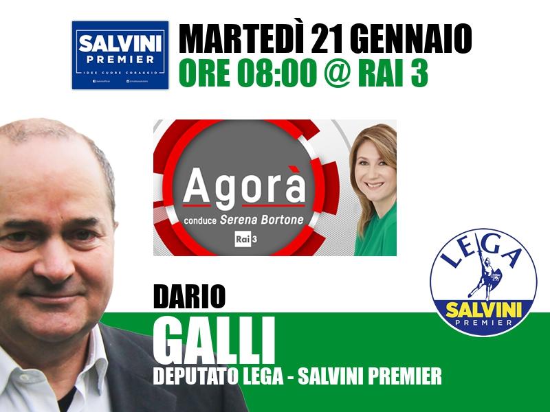 Dario Galli a Agorà (Rai 3)