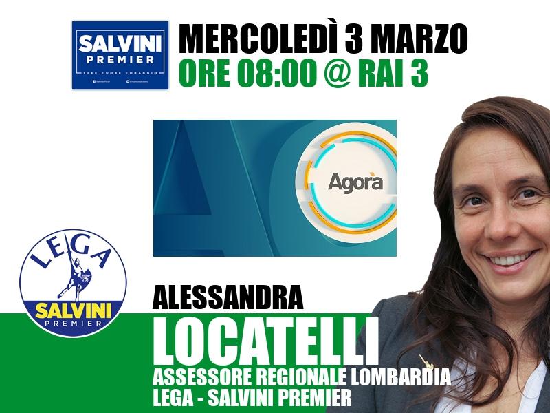 Alessandra Locatelli a Agorà (Rai 3)