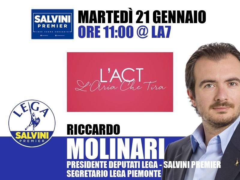 Riccardo Molinari a L'Aria che Tira (La7)