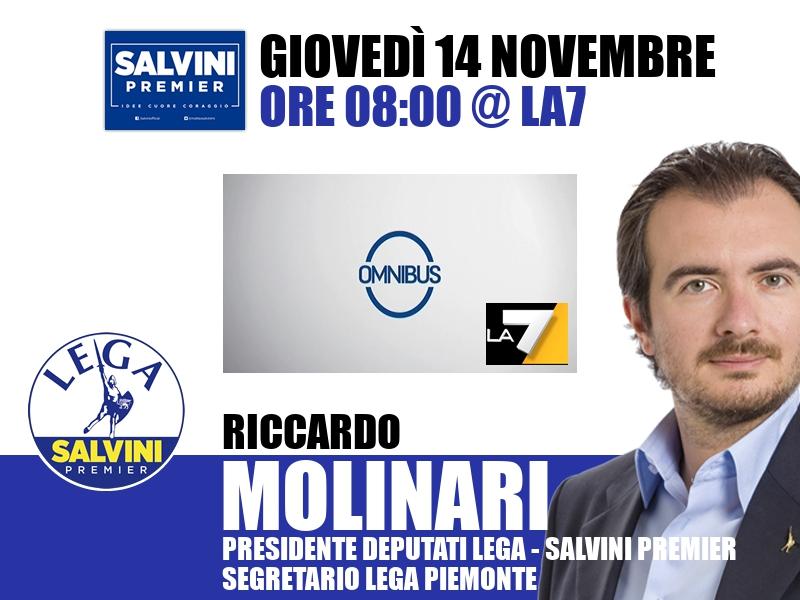 Riccardo Molinari a Omnibus (La7)
