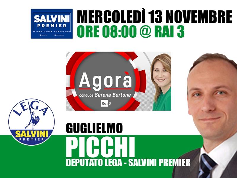 Guglielmo Picchi a Agorà (Rai 3)