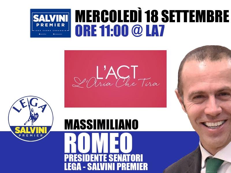 Massimiliano Romeo a L'Aria che Tira (La7)