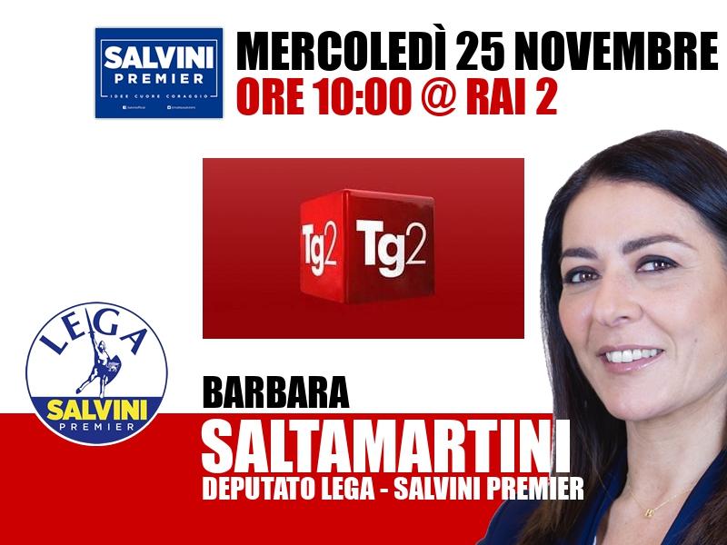 Barbara Saltamartini a TG2 Italia (Rai 2)
