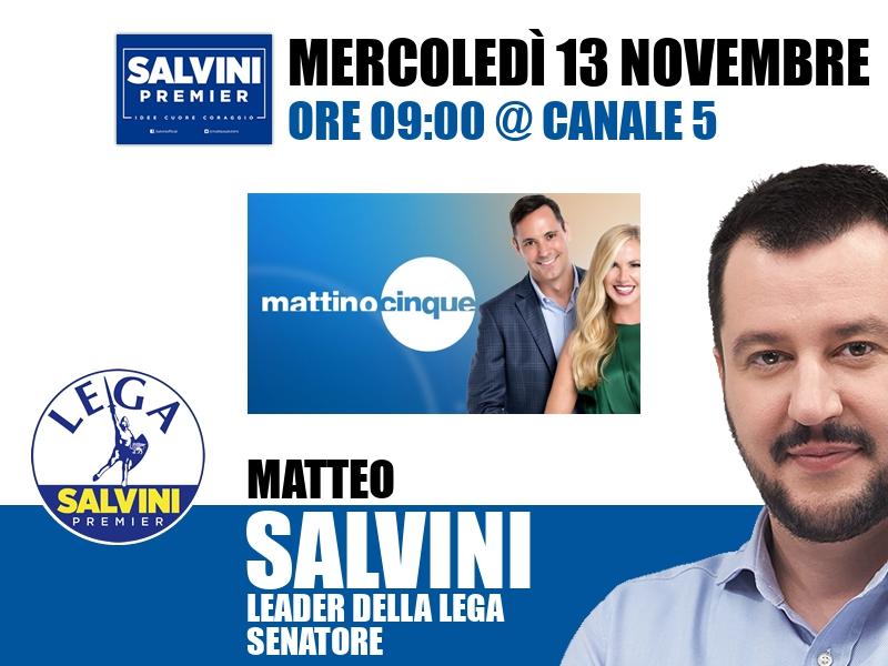 Matteo Salvini a Mattino Cinque (Canale 5)