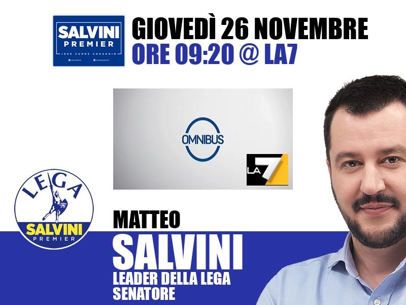 Matteo Salvini a Omnibus (La7)