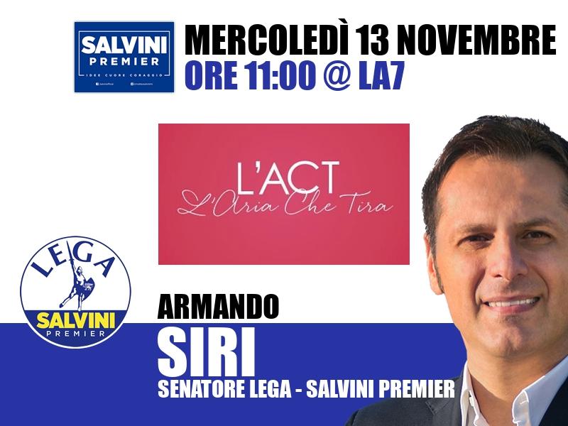 Armando Siri a L'Aria che Tira (La7)